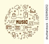music minimal thin line icons... | Shutterstock .eps vector #525090052
