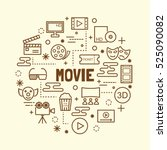 movie minimal thin line icons... | Shutterstock .eps vector #525090082
