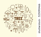tree minimal thin line icons... | Shutterstock .eps vector #525090466