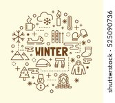 winter minimal thin line icons... | Shutterstock .eps vector #525090736