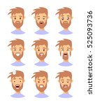 set of male emoji characters.... | Shutterstock .eps vector #525093736