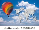 balloon over the sky with map... | Shutterstock . vector #525109618