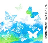 butterflies on a colorful... | Shutterstock .eps vector #525114676
