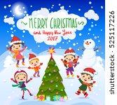 winter fun. cheerful kids... | Shutterstock .eps vector #525117226