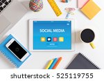 social media concept on tablet... | Shutterstock . vector #525119755
