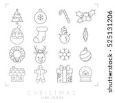 thin line christmas icons set.... | Shutterstock .eps vector #525131206
