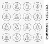 christmas tree thin line icon... | Shutterstock .eps vector #525136366