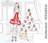 Girl In Santa Claus Costume In...