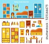 baby room furniture... | Shutterstock .eps vector #525166675