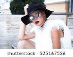 fashion model girl wearing... | Shutterstock . vector #525167536