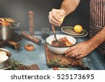 men cooking beef meat on... | Shutterstock . vector #525173695
