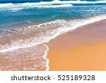 blue water wave on sandy beach. ... | Shutterstock . vector #525189328