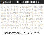 set vector line icons in flat... | Shutterstock .eps vector #525192976