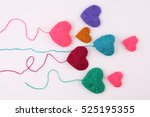close up of a wool heart on... | Shutterstock . vector #525195355