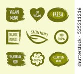 set of green grunge labels with ... | Shutterstock .eps vector #525211216
