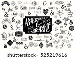 Big collection of hand lettered ampersands and catchwords isolated on white background. Great vector design set for wedding invitations, save the date cards and other stationary. | Shutterstock vector #525219616