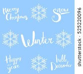 snow. christmas calligraphy.... | Shutterstock .eps vector #525220096