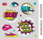 fashion patch badges with lips  ... | Shutterstock .eps vector #525222952