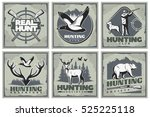 six square hunting posters set... | Shutterstock .eps vector #525225118