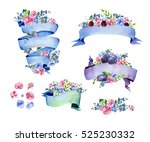 colorful floral collection with ... | Shutterstock . vector #525230332
