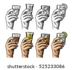 male hand holding a glasses... | Shutterstock .eps vector #525233086