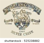 Northern country the great outdoor, vector  artwork for boy t shirt grunge effect in separate layer | Shutterstock vector #525238882