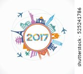 2017 travel and tourism... | Shutterstock .eps vector #525241786