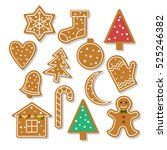 set of vector icons of ginger... | Shutterstock .eps vector #525246382