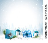 blue gift boxes in the snow  ... | Shutterstock .eps vector #525246526
