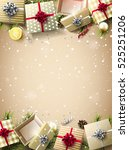 christmas gift boxes  baubles ... | Shutterstock .eps vector #525251206