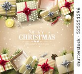 christmas gift boxes  baubles ... | Shutterstock .eps vector #525251296