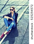 young stylish hipster woman... | Shutterstock . vector #525254572