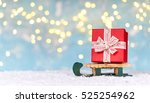 red christmas gift box... | Shutterstock . vector #525254962