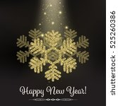 gold glitter big snowflake ... | Shutterstock .eps vector #525260386