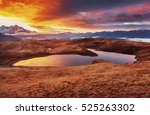 sunset on mountain lake koruldi.... | Shutterstock . vector #525263302