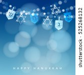 hanukkah blue background with... | Shutterstock .eps vector #525268132