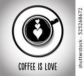 top view latte art coffee cup... | Shutterstock .eps vector #525268672