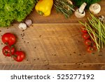 wooden background with... | Shutterstock . vector #525277192