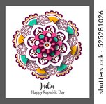 floral mandala pattern and... | Shutterstock .eps vector #525281026