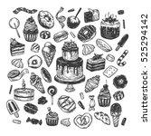 vector sweets. set of hand... | Shutterstock .eps vector #525294142