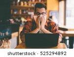 sick student blowing his nose... | Shutterstock . vector #525294892