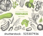 vegetables top view frame.... | Shutterstock .eps vector #525307936