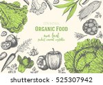 vegetables top view frame.... | Shutterstock .eps vector #525307942