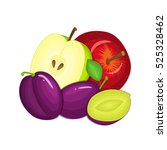 composition of several plums... | Shutterstock .eps vector #525328462