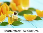 bottles with essential oil ... | Shutterstock . vector #525331096