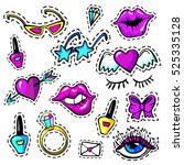 decorative fashion patch badges ... | Shutterstock .eps vector #525335128