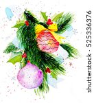 watercolor christmas balls... | Shutterstock . vector #525336376
