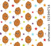 kiwi  vector seamless pattern... | Shutterstock .eps vector #525344716