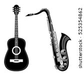 saxophone and acoustic guitar....   Shutterstock .eps vector #525354862