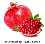pomegranate isolated on white... | Shutterstock . vector #525355996
